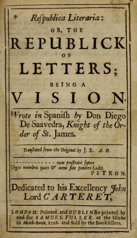 Book Cover: Republica literaria or The republick of letters